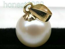 Pretty AAA+++ perfect round white akoya pearl pendant 585 solid yellow gold gift