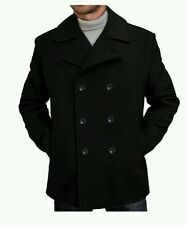 "BGSD Men's ""Mark"" Classic Wool Blend Pea Coat, Black, LG."