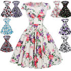 50'S 60'S Retro Vintage Floral Swing Pinup Housewife Party Prom Dress