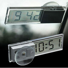 Digital LCD Display w Suction Cup Mini Dashboard Windshield Auto Car Clock FM