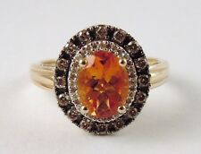 100% Genuine 14k Yellow Gold Large Citrine and Natural Diamonds Ring Sz 7.5 US