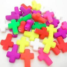 15 X mixtos De Neón Color Plana Cruz De Goma Mira Pulsera Conector 16x12mm Craft