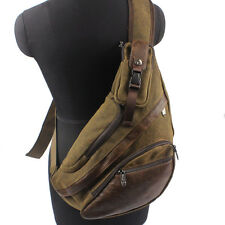 Men Canvas Travel Hiking Cross Body Messenger Shoulder Sling Back pack Chest Bag