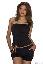 Hot + sexy bandeau traje de pantalón Jumpsuit overall hot pants short negro 34 36 38