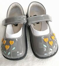 NEW See Kai Run Tricia Mary Janes Gray Patent/Yellow Size 6 Leather  Shoes Girls