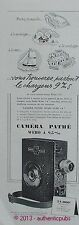 PUBLICITE CAMERA ET CHARCHEUR PATHE WEBO TYPE A 9,5 M/M DE 1949 FRENCH AD PUB