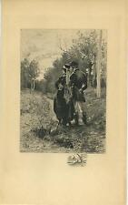 ANTIQUE EQUESTRIAN HORSE RIDING COSTUME CLOTHES MAN WOMAN REMARQUE ETCHING PRINT