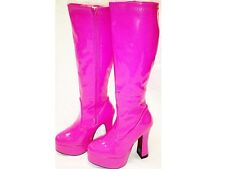Pink Gogo Boots Womens Retro Knee High Hot Cerise Platform Boots - Size 11 UK