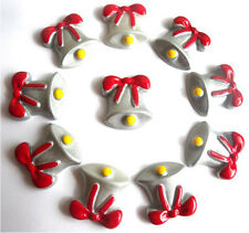 10 CHRISTMAS SILVER BELLS FLATBACK KITCH CABOCHONS RESIN DECODEN - FAST SHIPPING