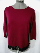 Nwt IMPLUSE Lace trim T-shirt top XS CranberryBlack Boho Indie 3/4 sleeve blouse