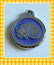 Pets Cats ID PURPLE Round TAG Free ENGRAVED Name Telephone Mobile Number