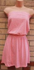 HOOCH WHITE PINK STRIPE STRIPED NAUTICAL BANDEAU A LINE SUMMER SKATER DRESS XS
