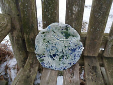 """Hand Crafted Art Pottery Display Plate Blue Green Impression 8"""" Signed M Ciper"""