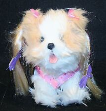 Interactive Dog Toy Fur Real Plush Puppy Dog Pink Skirt Bows