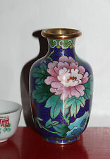 A Superb 10.2 cm Chinese Cloisonne Poeny Small Baluster Vase