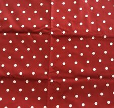 Vtg Bloomcraft Fabric Red White Polka Dots Polished Cotton Soil Stain Repellent