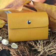 Men Women Genuine Cowhide Leather 26 ID Credit Card Case Holder Bag Purse Yellow