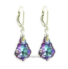 STR Silver Purple Crystal Leverback Dangle Earring Using Swarovski Elements
