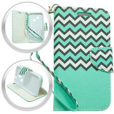 PU Wallet Pouch ChGreen Cover Case w/Strap For LG Sunrise L15G Lucky L16C Phone