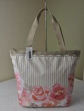 LeSportsac Pink Rosy Dreams Floral Stripe 3247 Hailey Tote