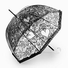 Black Clear Steampunk Gothic Heart Design Dome Bubble Rain / Costume Umbrella