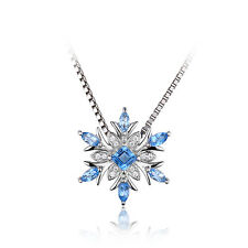 Christmas Snowflake Genuine Swiss Blue Topaz 925 Sterling Silver Necklace