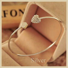 Women Fashion Style Silver Rhinestone Love Heart Bangle Cuff Bracelet Jewelry
