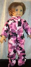 """Doll Clothes fit American Girl 18"""" inch Footed Pajamas Camo Pink Black Rose NEW"""