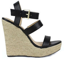 "Black espadrilles 5"" high heel Wedge Platform mary jane Ankle Strap Sandals  6"