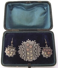 SUPERB ANTIQUE SILVER & GOLD LOCKET BACKED BROOCH & EARRINGS IN ORIGINAL BOX
