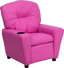 Flash Furniture Contemporary Hot Pink Vinyl Kids Recliner w/Cup Holder Chair NEW