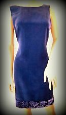 Beautiful UK size 12 LAURA ASHLEY Silk mauve floral velvet tunic shift dress.