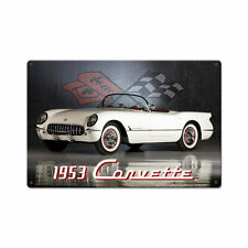 Original GM 1953 Chevy Chevrolet Corvette Cabrio Retro Sign Blechschild Schild