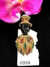RARE VTG SIGNED CINER BLACKAMOOR FIGURAL BROOCH PIN GOLD FAUX PEARL RUBY RS