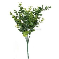 1x Green Artificial Large Leaves 7 Branches Eucalyptus Grass Wedding Decor