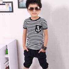 Summer Baby Kids Boys Short Sleeve Striped Top+Sports Pants Casual Outwear Sets