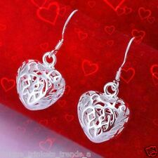 STERLING SILVER PLATED HEART EARRINGS~MOTHERS DAY GIFT FOR MOM HER WOMEN FRIEND