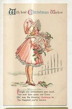 With Best Christmas Wishes, Girl in Fancy Outfat, Sunbonnet Vintage Postcard