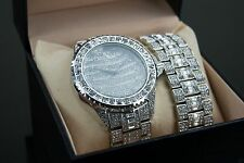 Iced Out Lab Simulated Diamond Hip Hop Bling JoJo Pave Techno Watch Bracelet Set