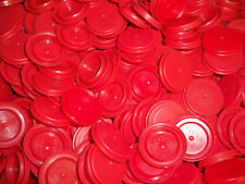50 Red Plastic Milk Water Gallon Bottle Caps Art & Math Projects Games Cat Toy