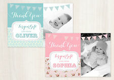 10 PERSONALISED THANK YOU CARDS WITH PHOTO - *Flat Not Folded* - BABY - BUNTING