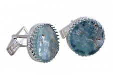 Beautiful Round 925 Sterling Silver Ancient Roman Glass Cufflinks