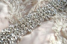 MANHATTAN BRIDAL SASH wedding belt Vintage Crystal Dress Rhinestone Silver