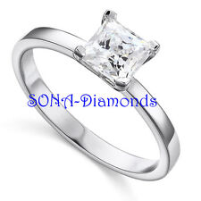 Terry Solitare Man Made SONA NSCD Diamonds SILVER 925 Wedding Engagement RING