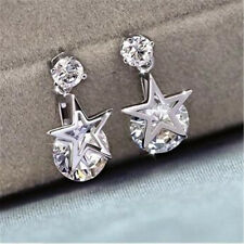 1 Pair Dazzling Zircon Earrings Stars Design Pendant Charm Jewelry Decoration