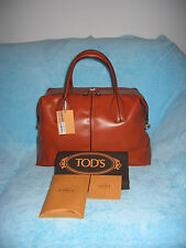 NWT TOD'S D-STYLING MEDIUM BAULETTO SATCHEL BAG // BURNT ORANGE