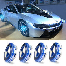 4X Blue Light Car Cover Hood LED Tire Emblem Badge Wheel Center Hub Caps For BMW