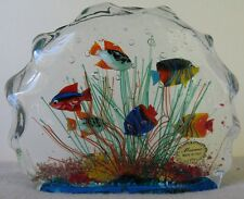 Vintage? Old Estate Large Murano Italy Fish Aquarium Paperweight 6.5X5X1.75 Nice