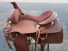 USED 15 ROPING ROPER WESTERN COWBOY TRAIL PLEASURE TOOLED LEATHER HORSE SADDLE