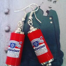 Unique BUDWEISER EARRINGS handcrafted DESIGNER drink LAGER beer PUB bar CANS